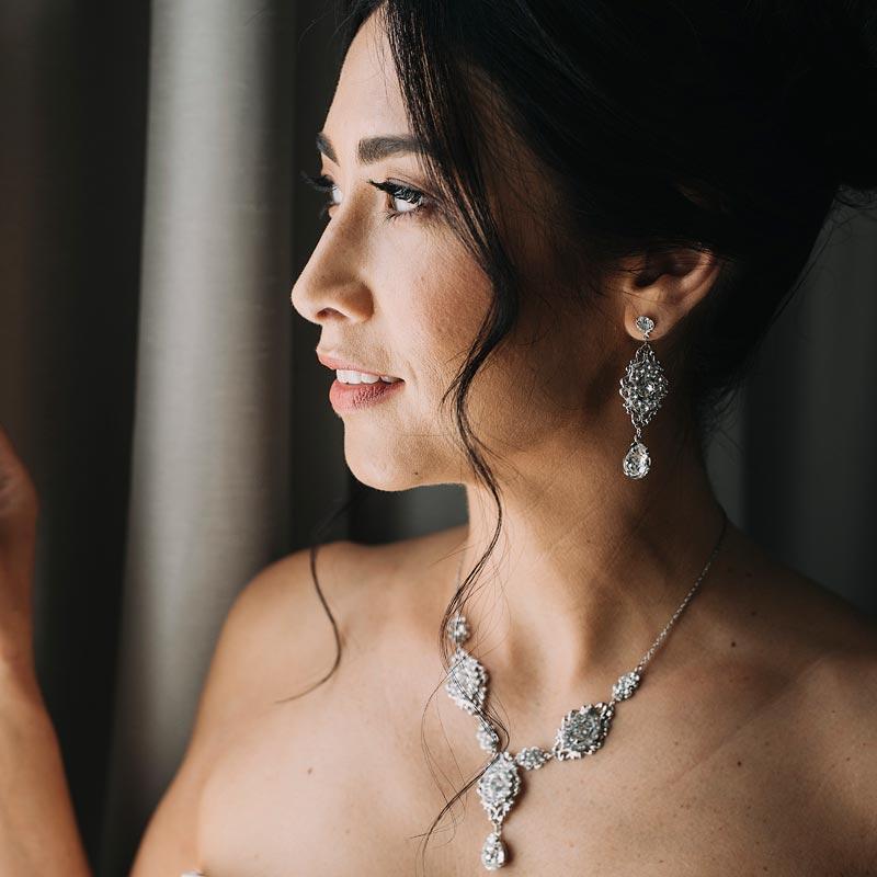 Crystal bridal necklace set