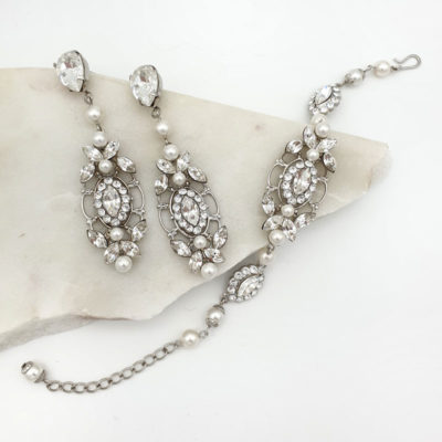 Swarovski crystal and pearl earrings and bracelet bridal set