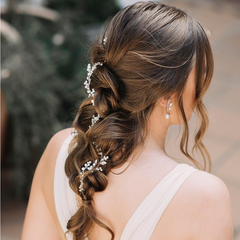 Floral bridal hair vine