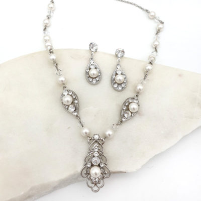Pearl and crystal bridal necklace set