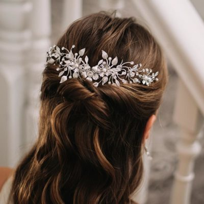 Pearl and crystal bespoke bridal hair piece