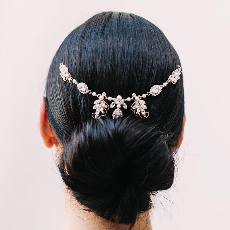 Pearl and crystal bespoke bridal hair piece