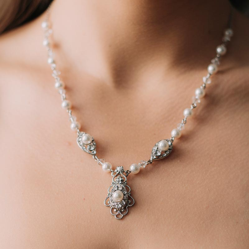 Pearl and crystal bespoke bridal necklace