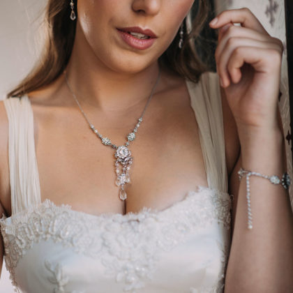 Pearl and crystal bespoke necklace set