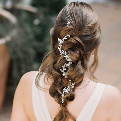 Pearl and crystal floral hair vine