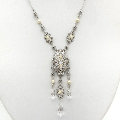 Swarovski pearl and crystal bridal necklace