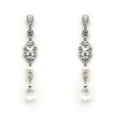 small pearl and crystal drop earrings