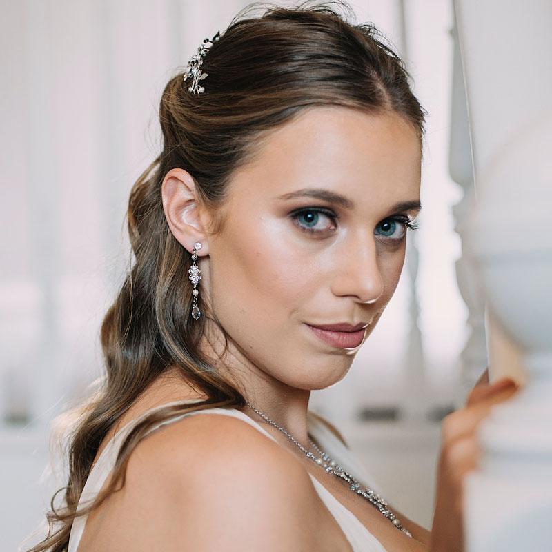 simple pearl and crystal drop earrings