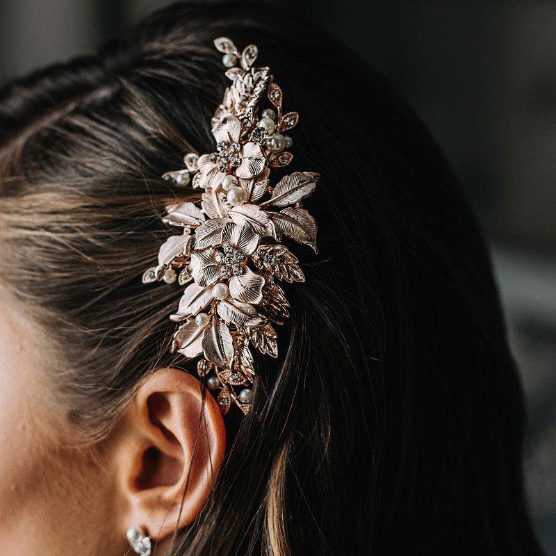 Floral rose gold bridal hair clip
