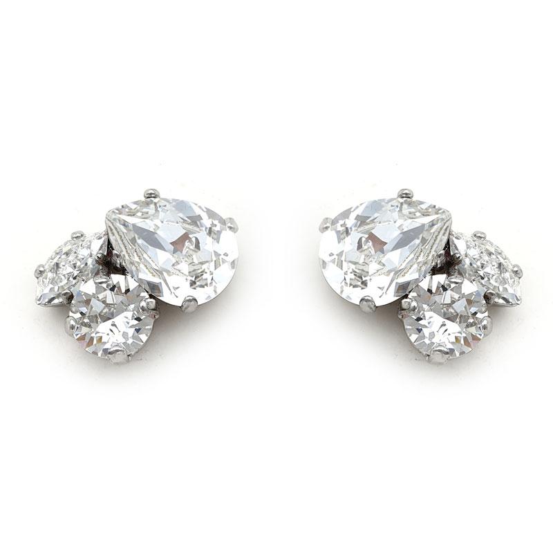 Silver Swarovski crystal cluster studs