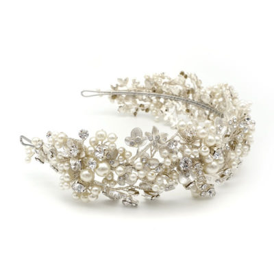 Silver Pearl floral statement headband