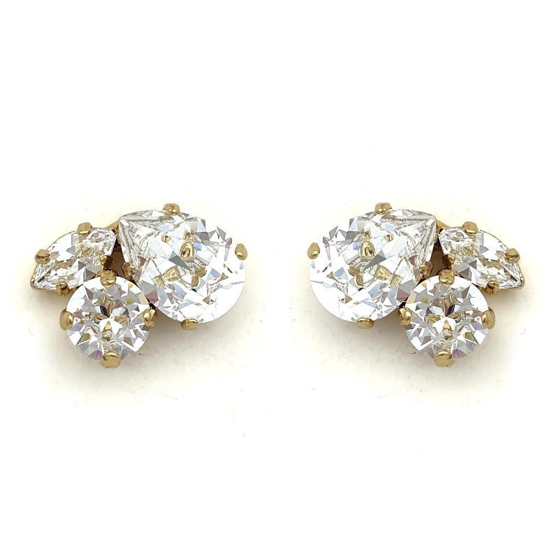 Gold Swarovski crystal cluster studs