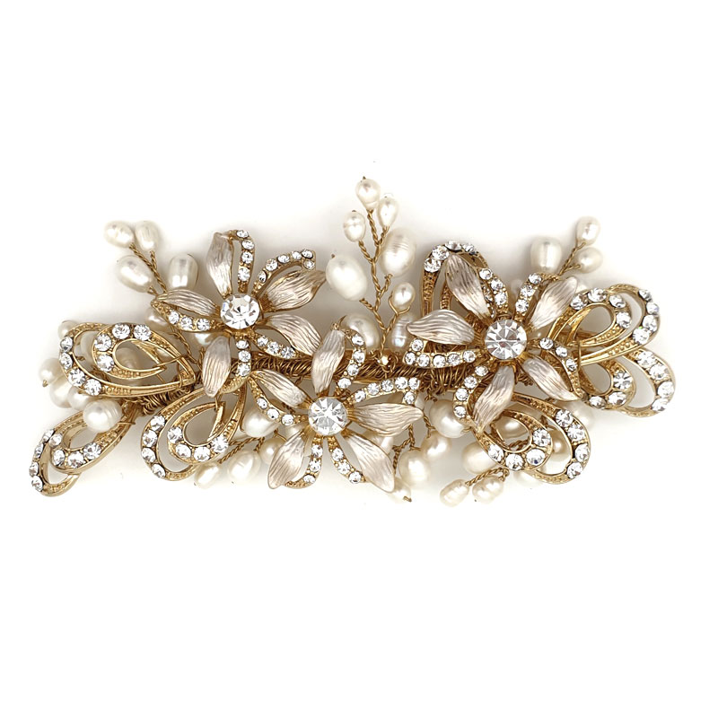 gold floral and pearl hair clip