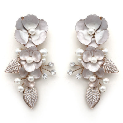 rose gold floral bridal earrings