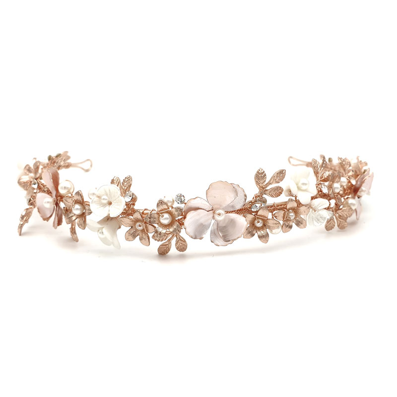 rose gold floral headband