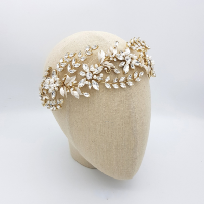 gold floral crystal and pearl headband