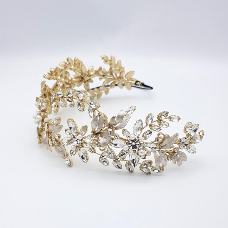 Gold pearl bridal headband