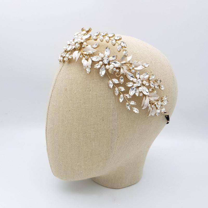gold floral pearl headband