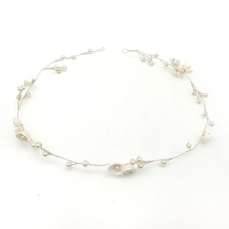 Silver blossom hair vine