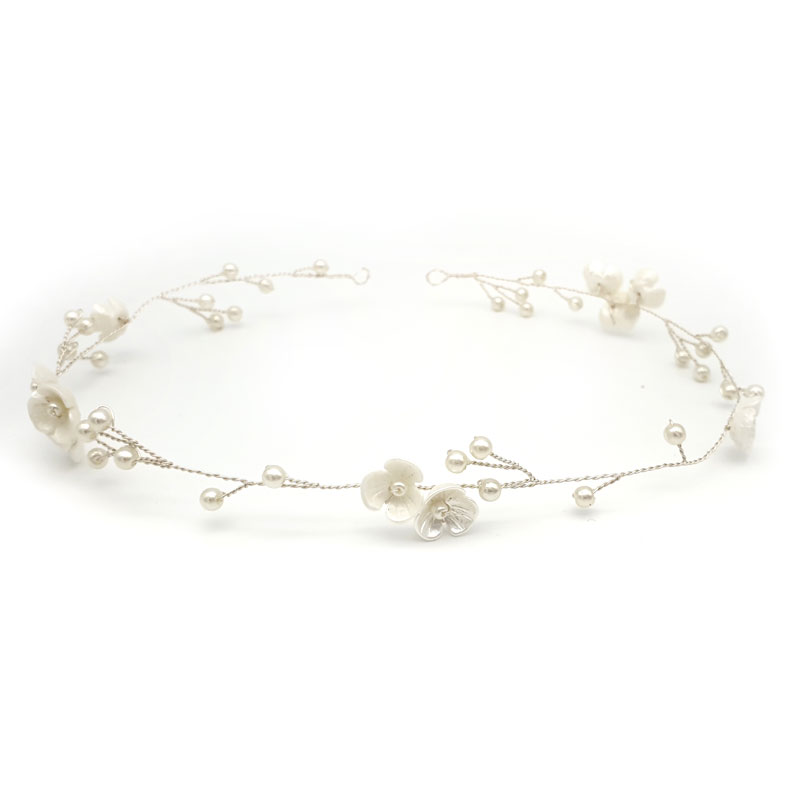 silver blossom and pearl hair vine