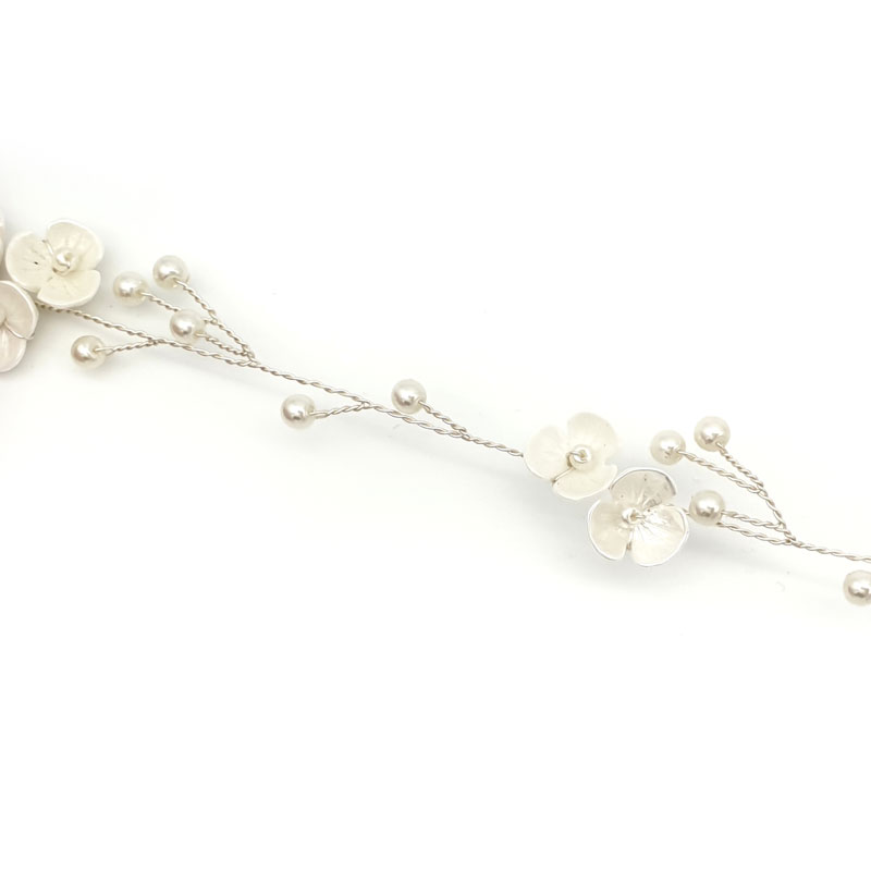 Silver pearl and blossom hair vine