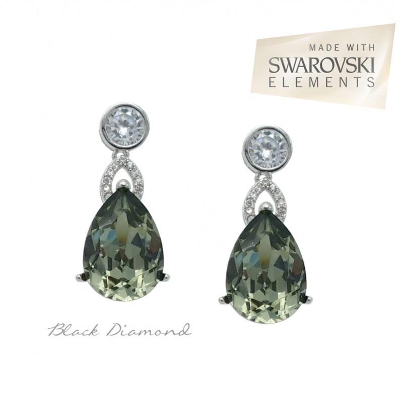 Black diamond Swarovski crystal bridesmaid earrings