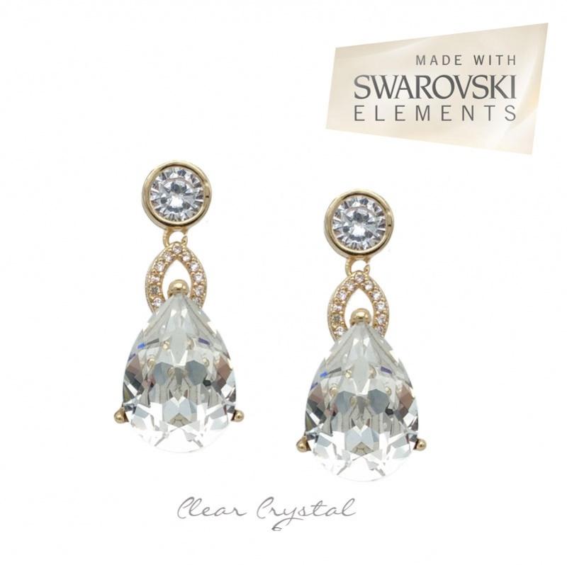Clear crystal gold bridal earrrings