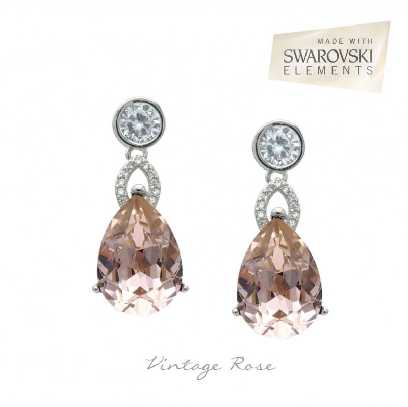 Vintage rose silver bridesmaid earrings
