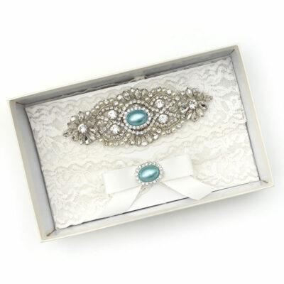 Bridal blue pearl garter set