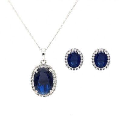 Sapphire cz silver necklace set