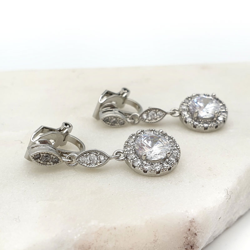Silver clip on cz earrings
