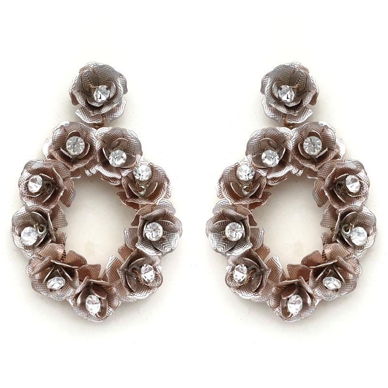 Rose Gold chunky rose bridal earrings