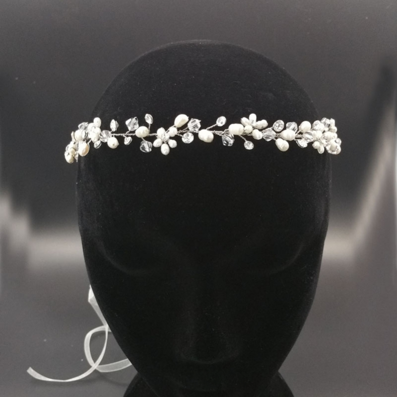 Silver Pearl bridal hair vine