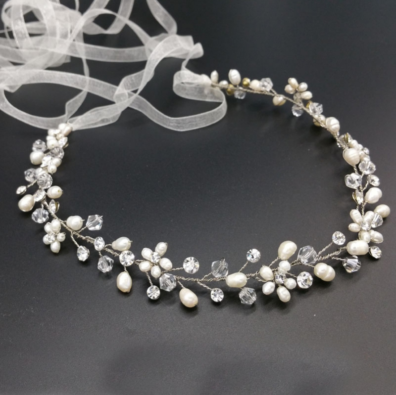 Silver pearl and crystal hair vine