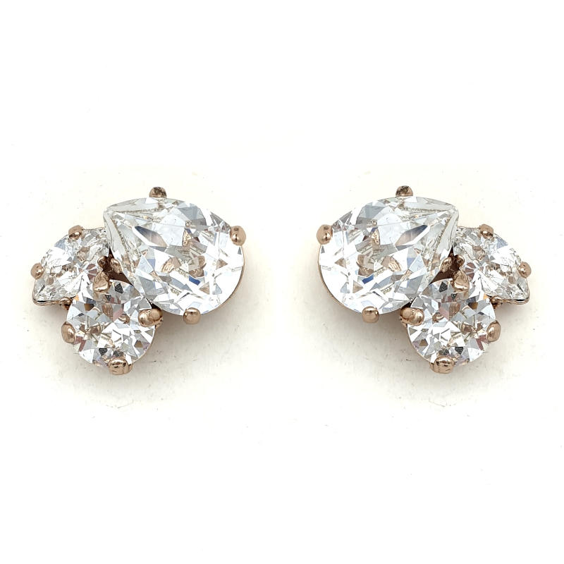 Rose Gold crystal cluster studs