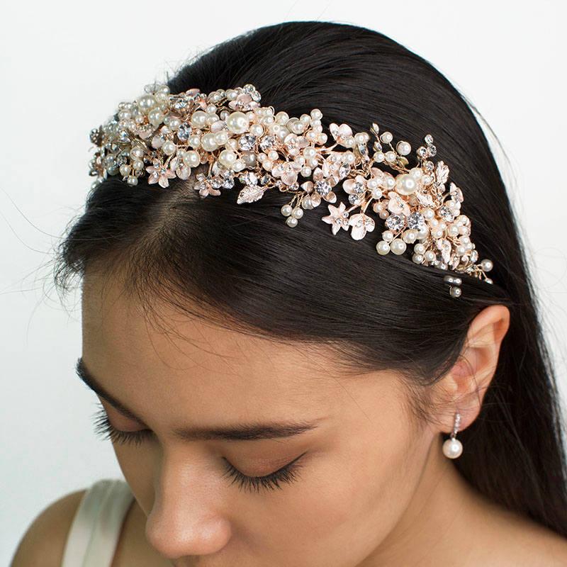 Rose gold pearl bridal headband