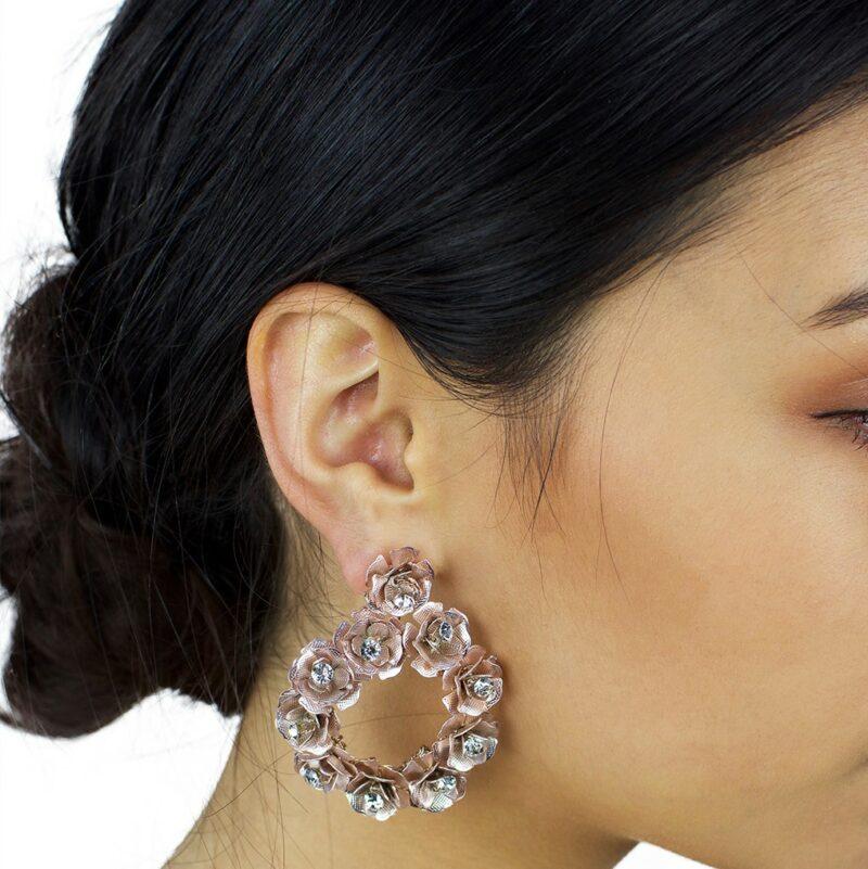 Rose gold bridal hoop earrings