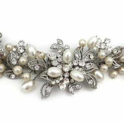 Short pearl bridal hair vine