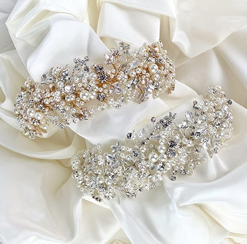 Silver or gold pearl bridal headbands