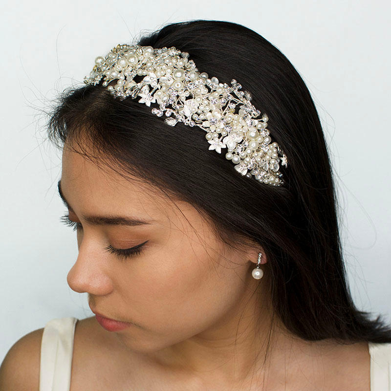 Silver pearl bridal headband