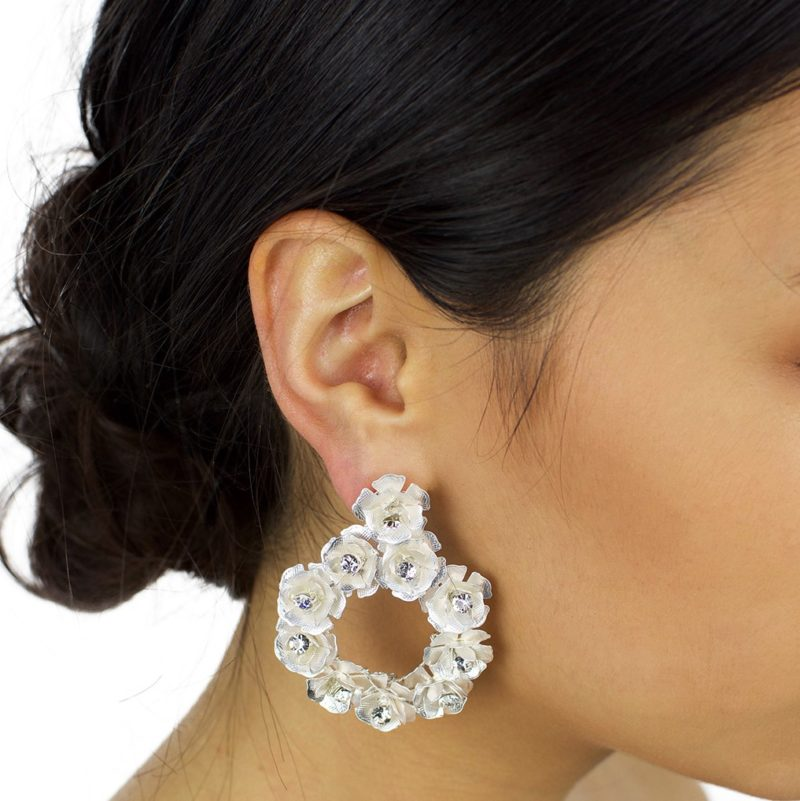 Silver bridal hoop earrings