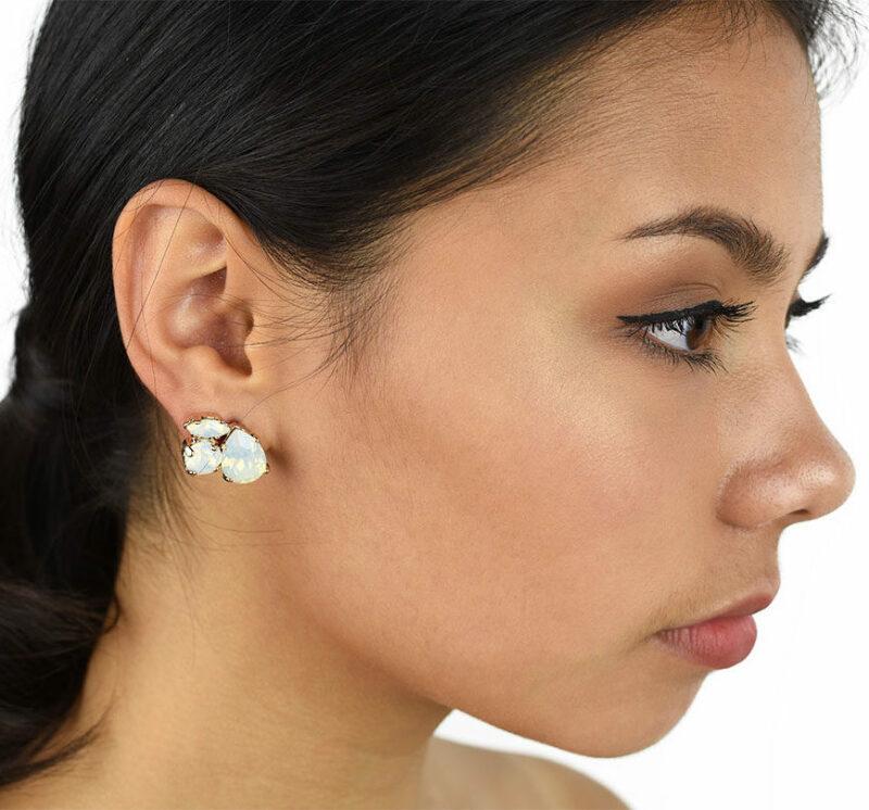 Crystal cluster bridesmaid earrings