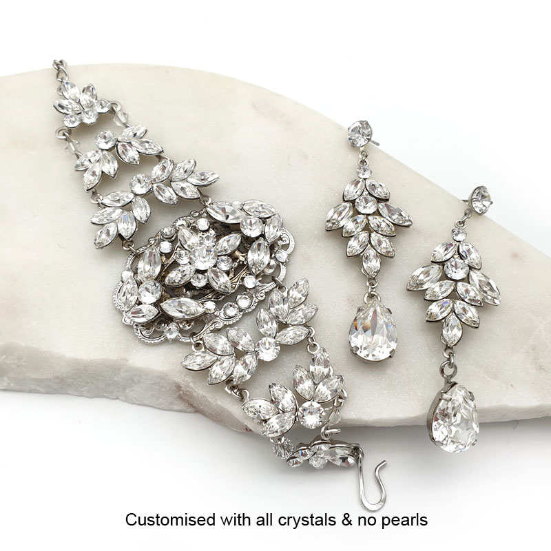 Silver crystal bracelet earrings bridal set