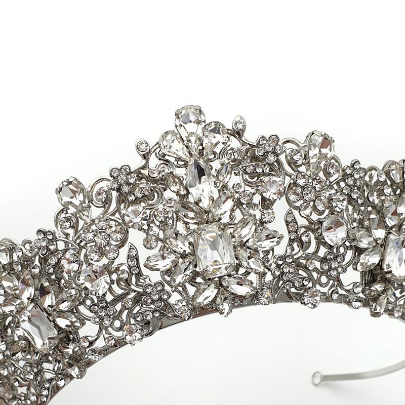 Silver Crystal Statement Bridal Crown