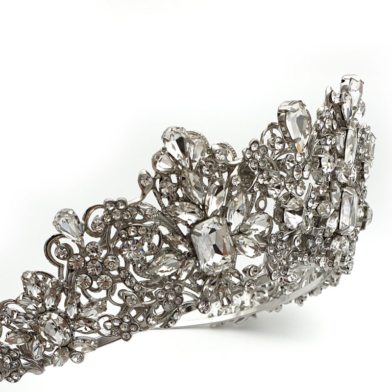 Silver crystal bridal crown