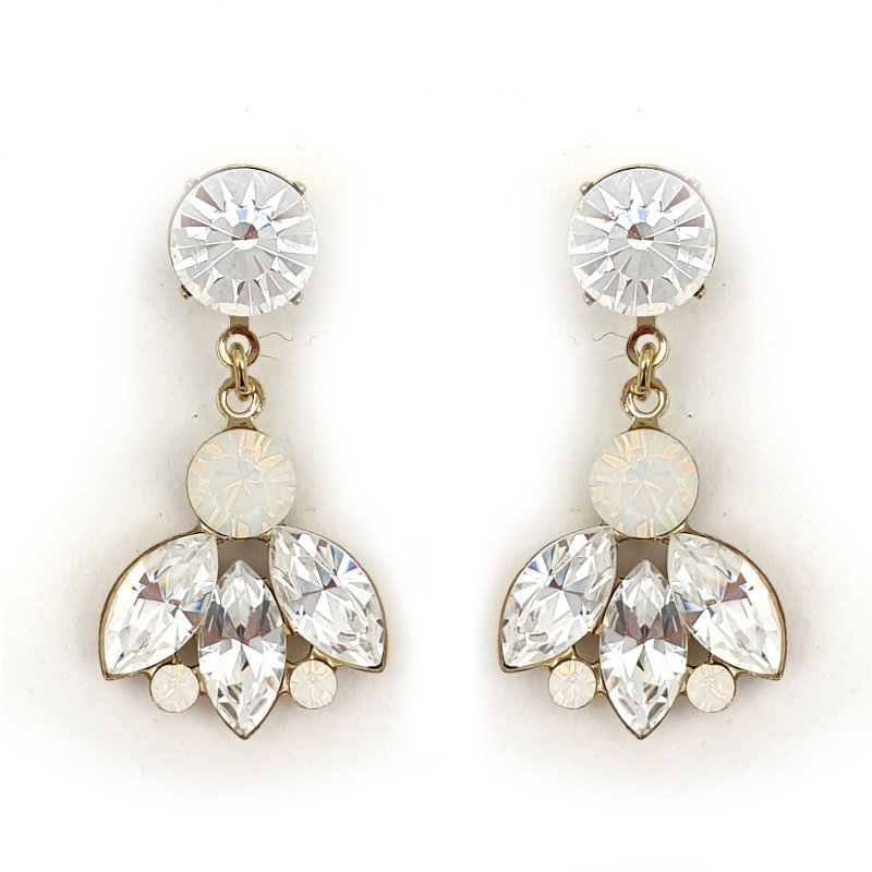 Clear and white opal crysta bridal drop earrings