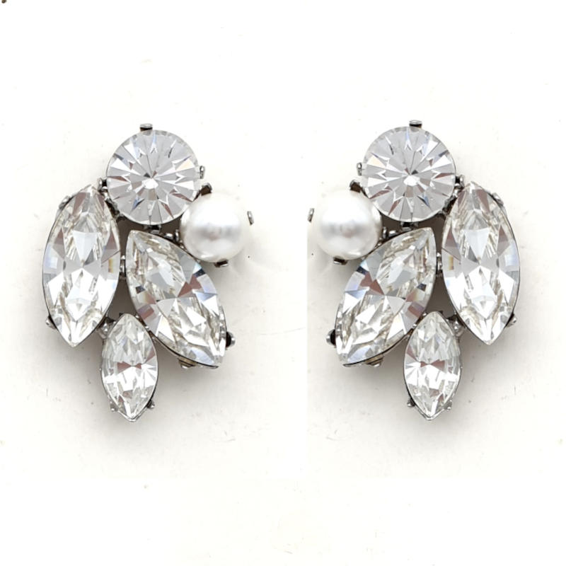 Crystal and pearl bridal studs