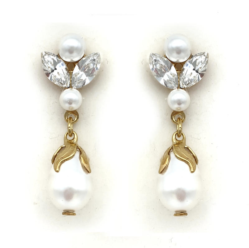 Gold pearl and crystal drop earrings