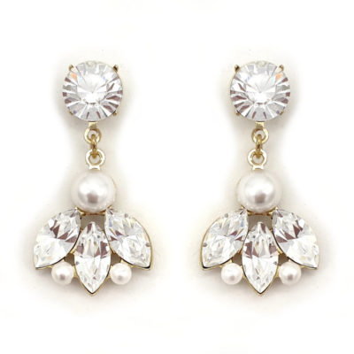 Pearl and crystal bridal drop earrings