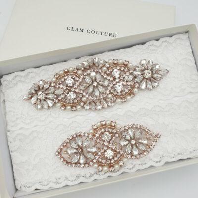 Rose gold soft ivory bridal garter set